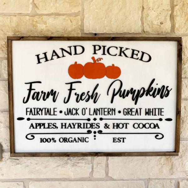 READY TO SHIP pn#18 Framed Sign Hand Picked Farm Fresh Pumpkins